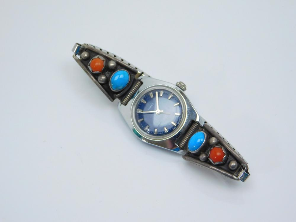 Vintage Native American Sterling Silver Turquoise Coral Watch Tips Timex Watch  27G