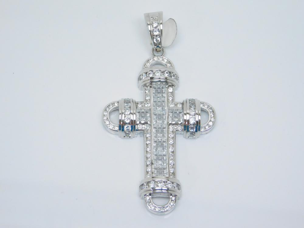 Large Rhodium Plated Sterling Silver Brilliant Cz Cluster Cross Pendant