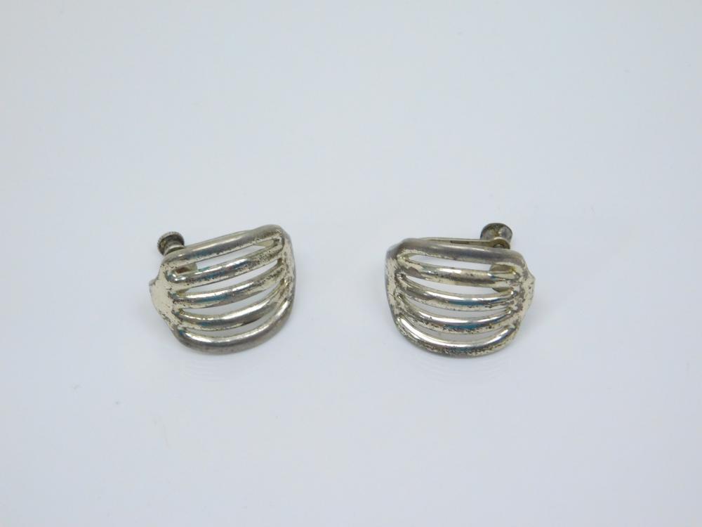Vintage Native American Sterling Silver Ribbed Screwback Earrings 9G