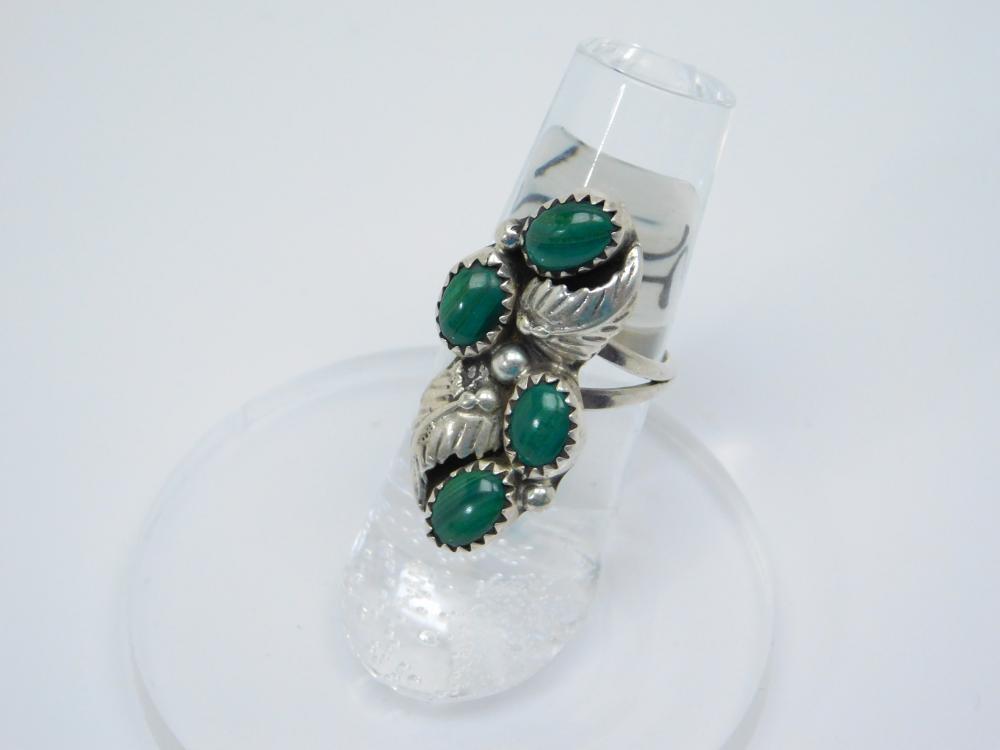 Vintage Native American Navajo Sterling Silver Malachite Cluster Ring 4.9G Sz5.75
