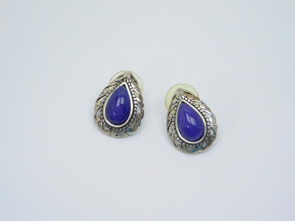 Designer Jerlaine Sterling Silver Purple Jadeite Teardrop Earrings 8G