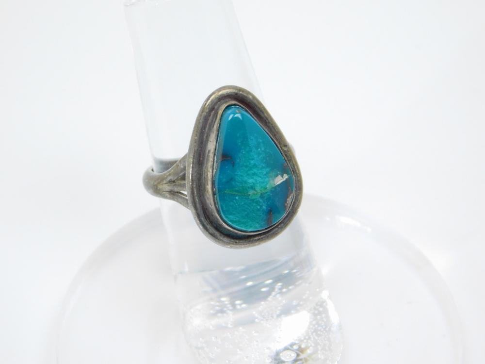 Vintage Native American Navajo Sterling Silver Turquoise Ring 4.5G Sz6