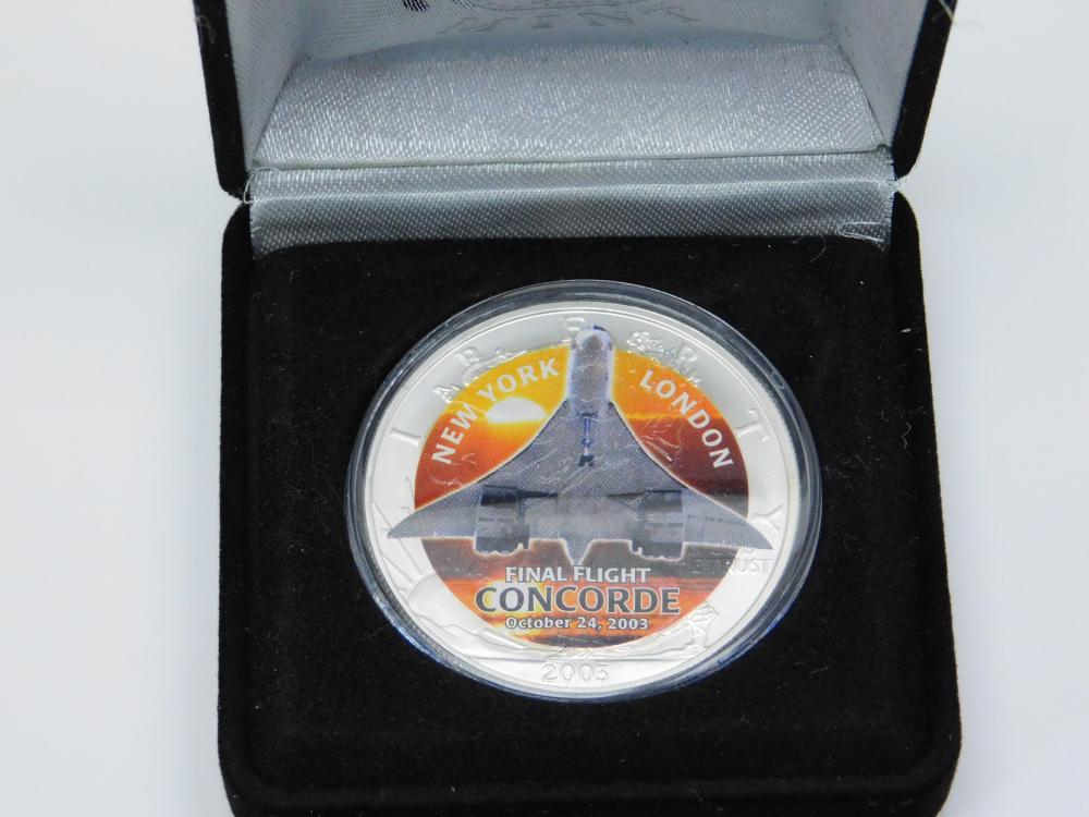 2003 Us Mint 999 Fine Silver Final Flight Concorde 1Oz Bullion Round