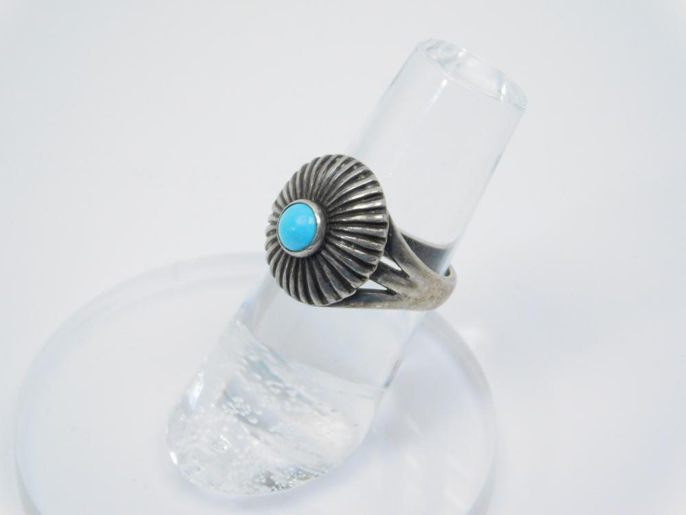 Vintage Mexico Or Native American Sterling Silver Turquoise Concho Ring 4G Sz5.5