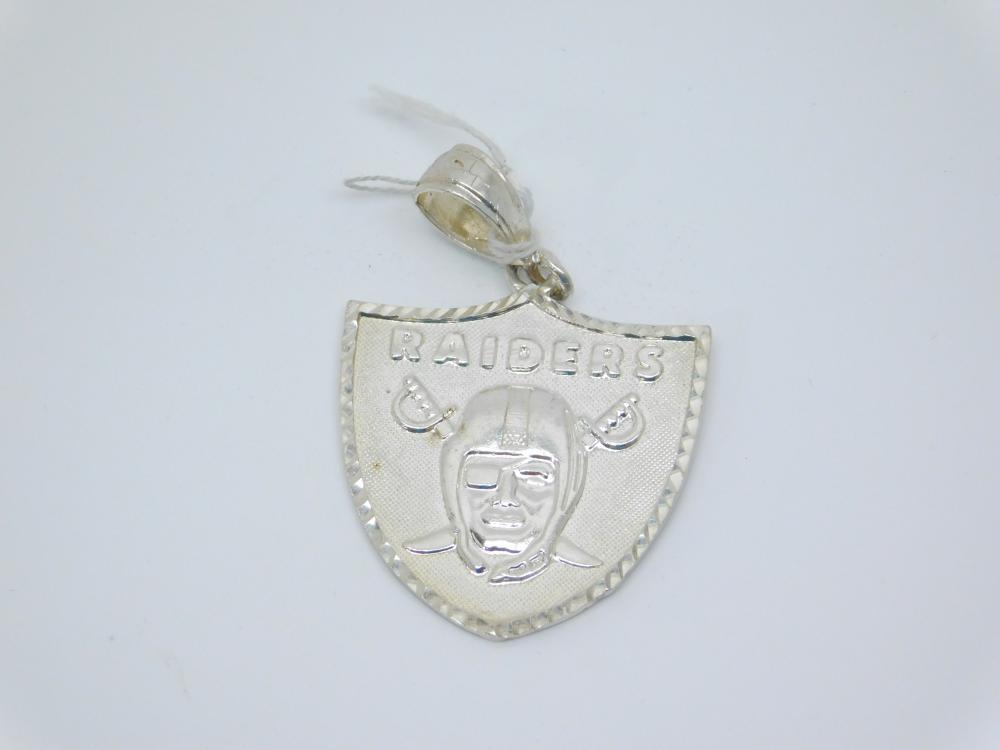 Sterling Silver Raiders Football Team Emblem Pendant 13.4G