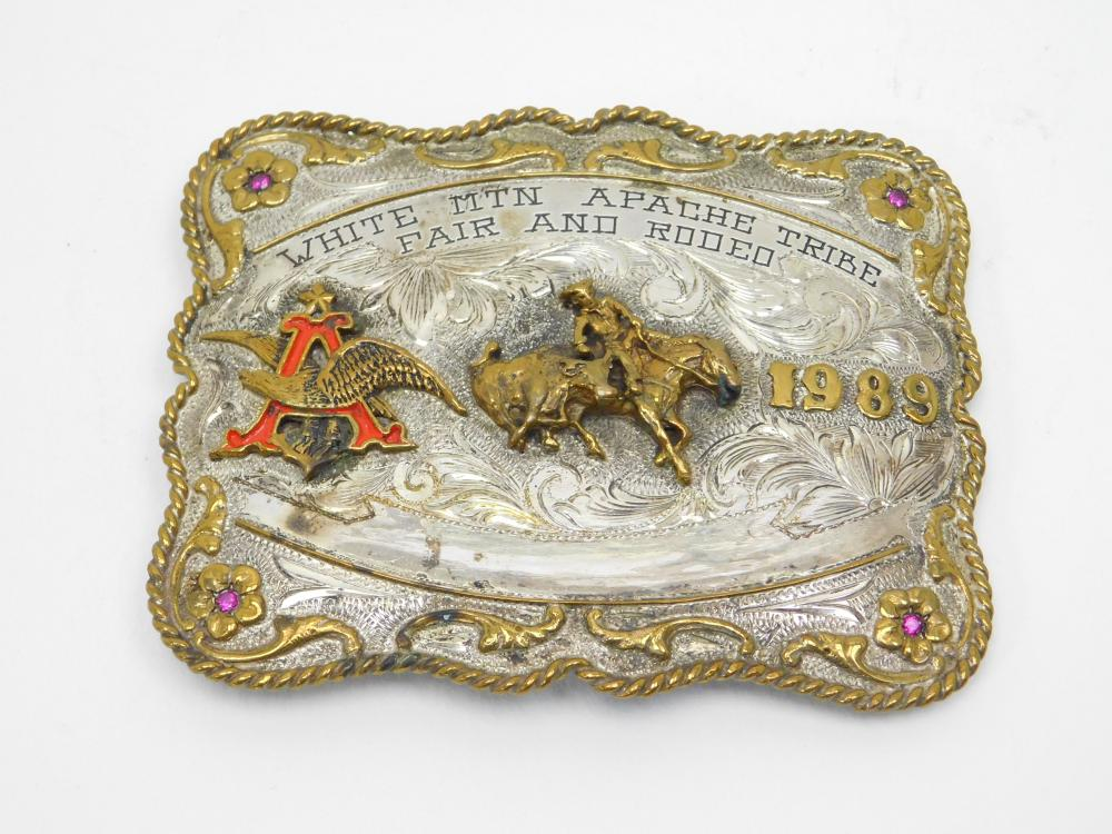 1989 White Mtn Apache Tribe Fair & Rodeo Sterling Front Large Belt Buckle 129G