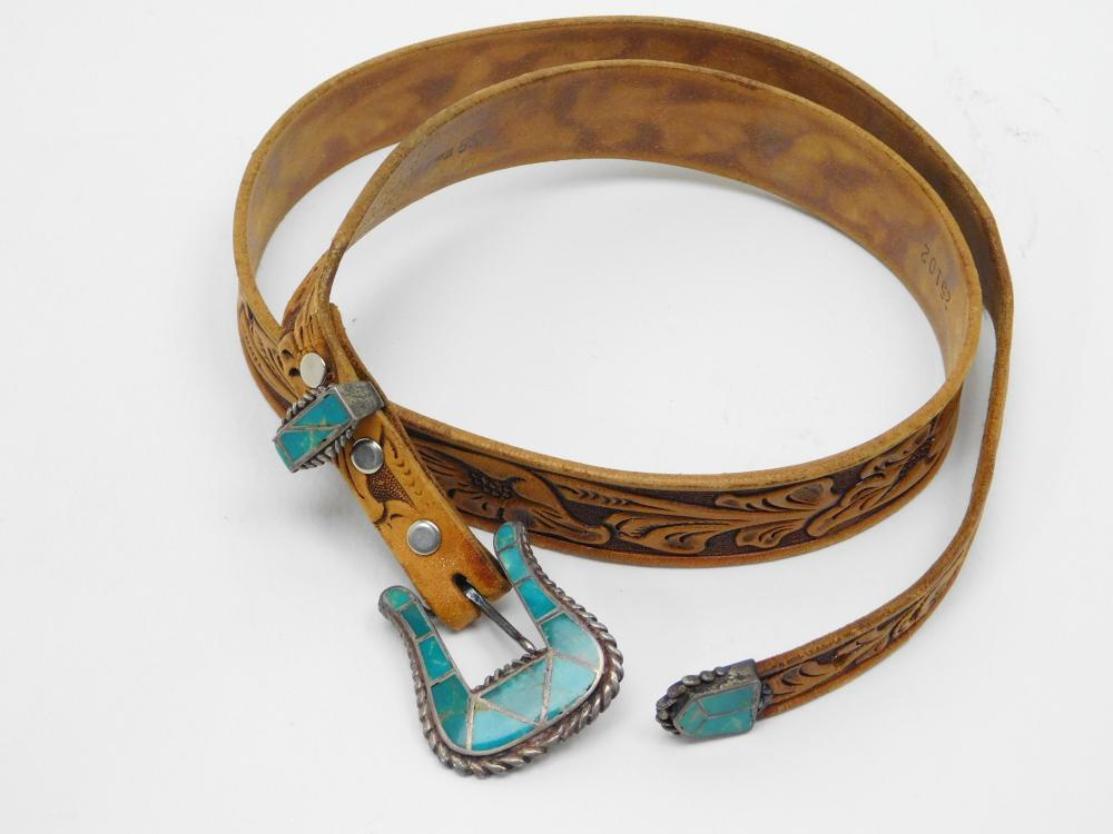 Vintage Native American Sterling Silver Turquoise Inlaid Belt Buckle Set & Tooled Western Belt