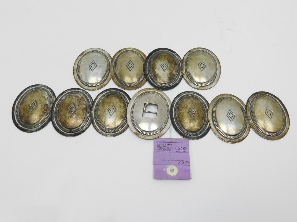 """Vintage Native American Old Pawn Sterling Silver Large Concho Set For 3/4"""" Wide Belt 451g"""