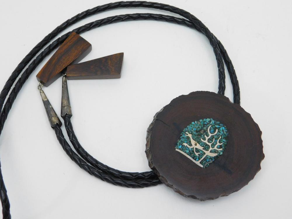 Vintage Native American Sterling Roadrunner Turquoise Chip Inlay Hardwood Bolo Tie
