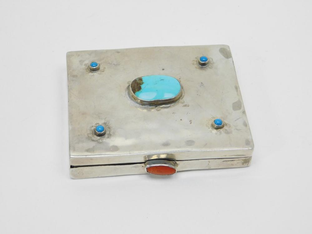 Vintage Native American Sterling Silver Turquoise Coral Handmade Cigarette Box 387G