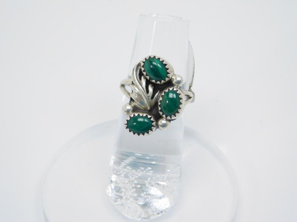 Vintage Native American Navajo Sterling Silver Malachite Cluster Ring 3.9G Sz5