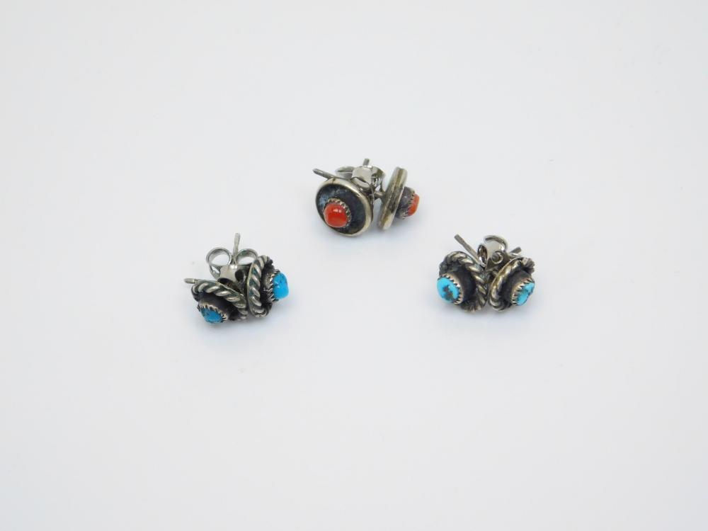 3Pr Vintage Native American Navajo Sterling Turquoise Coral Petite Dot Post Earrings 3.7G