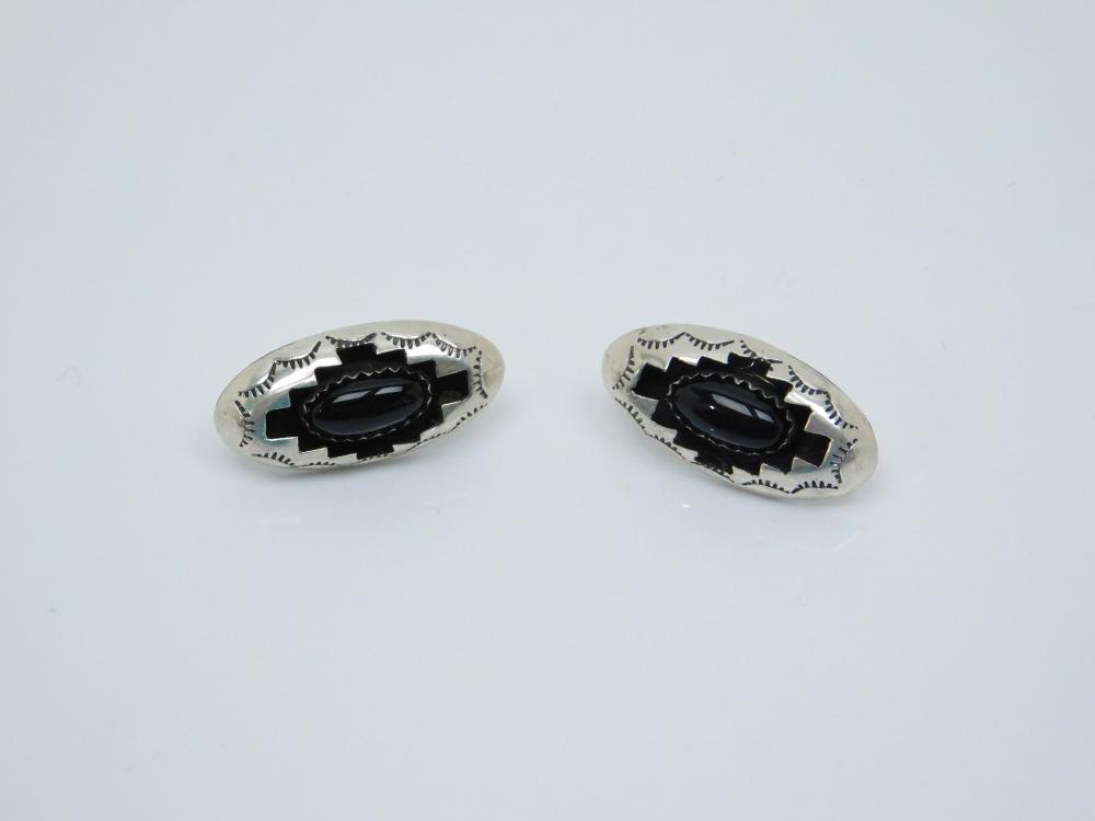 Vintage Native American Sterling Silver Black Onyx Shadowbox Earrings 3.7G