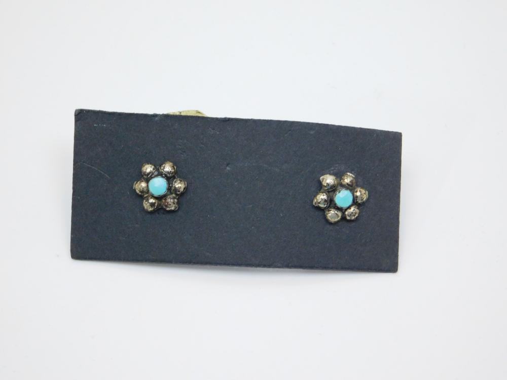 Vintage Native American Or Mexico Sterling Silver Turquoise Flower Earrings 2.2G