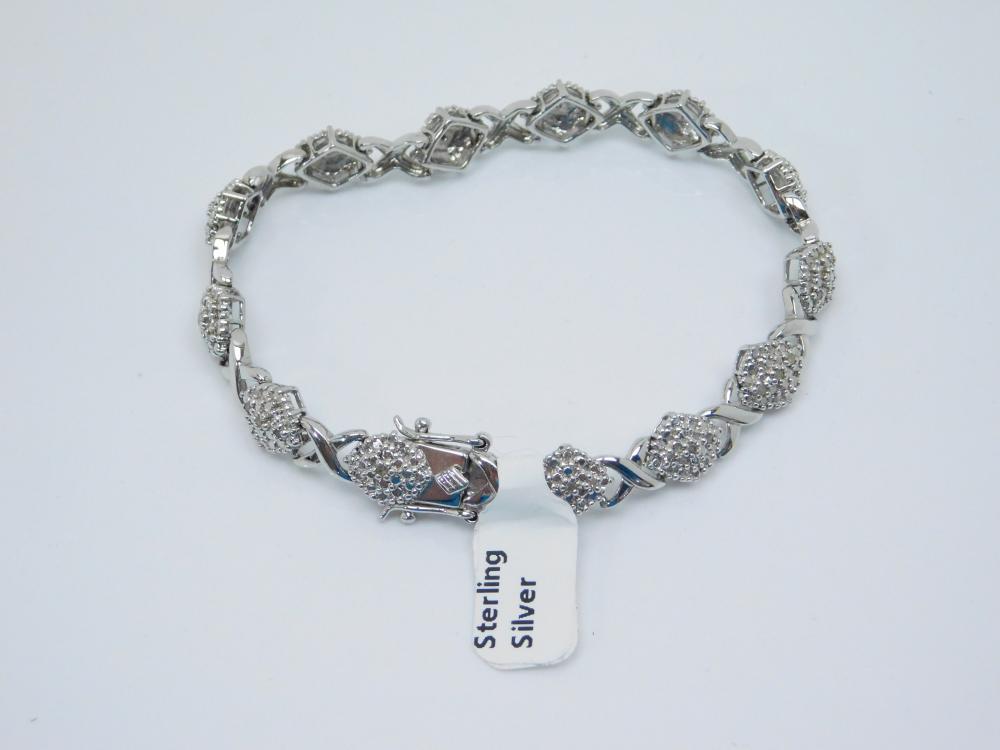 Otc Thailand Sterling Silver Diamond Chip Fashion Tennis Bracelet 15G