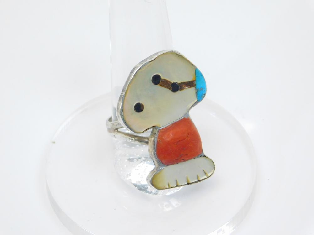Vintage Native American Sterling Silver Turquoise Coral Mop Inlaid Snoopy Ring 7.9G Sz8