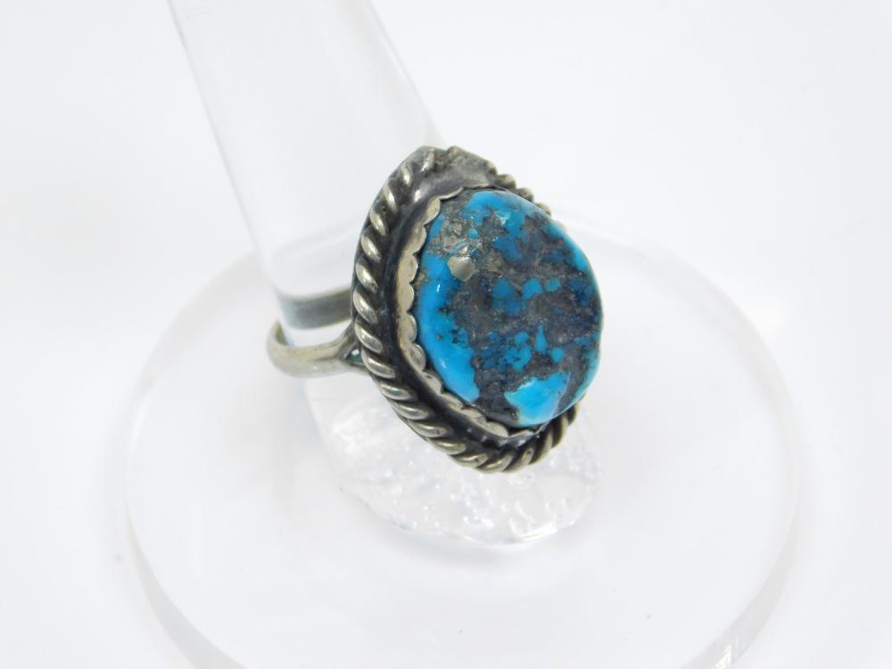 Vintage Native American Navajo Nickel Silver Turquoise Nugget Ring 8.4G Sz7.5