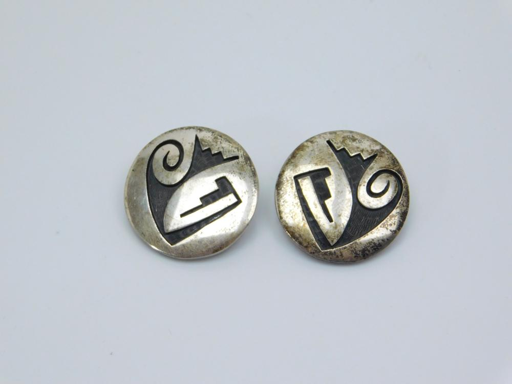 Vintage Native American Hopi Mitchell Sockyma Sterling Tribal Clip On Earrings 12.8G