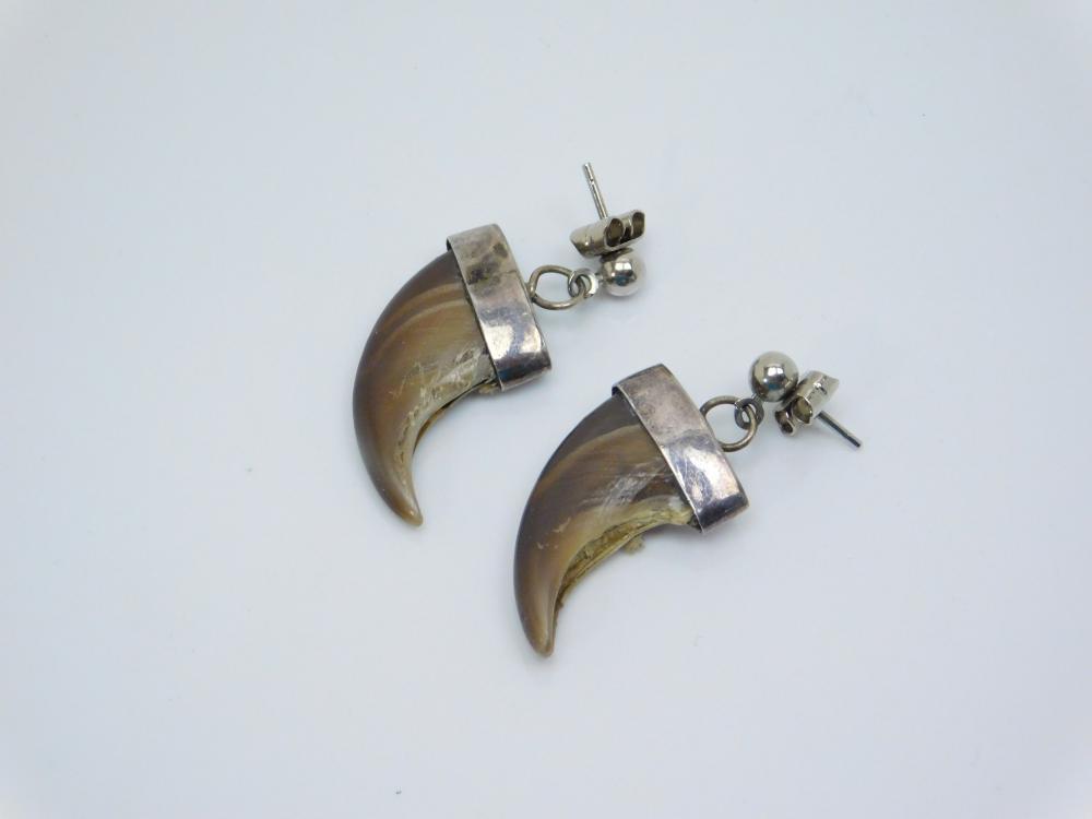 Vintage Native American Navajo Sterling Silver Bear Claw Earrings 5.7G