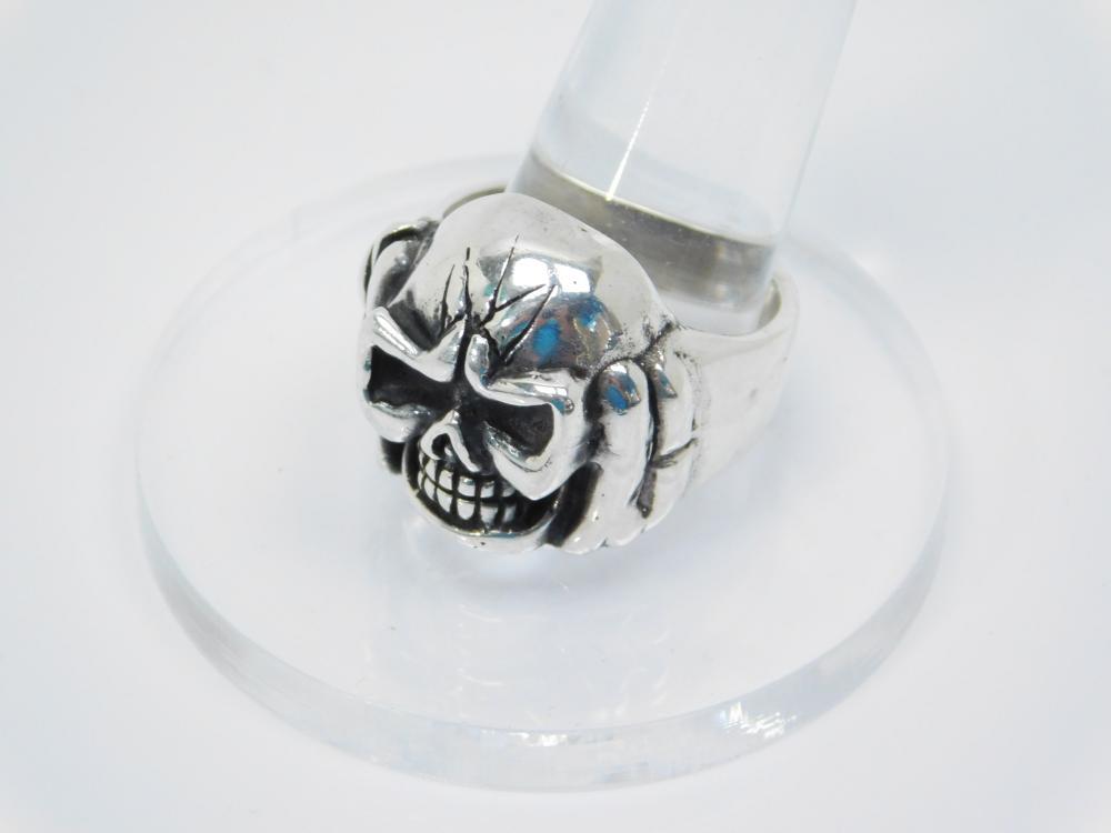 Vintage Sterling Silver Mens Skull Biker Ring 23G Sz12