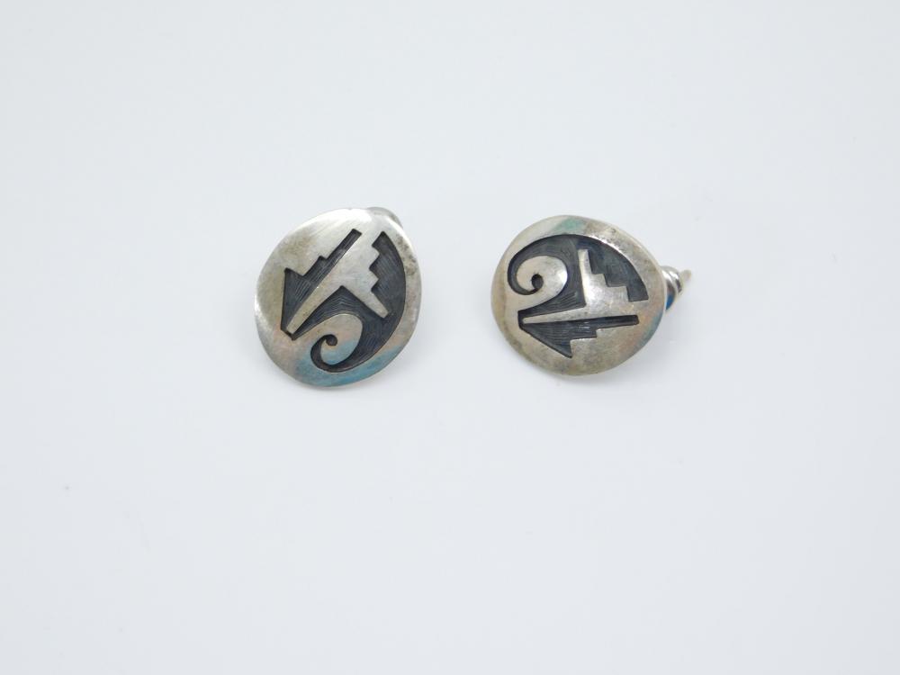 Vintage Native American Hopi Sterling Silver Tribal Design Earrings 5G