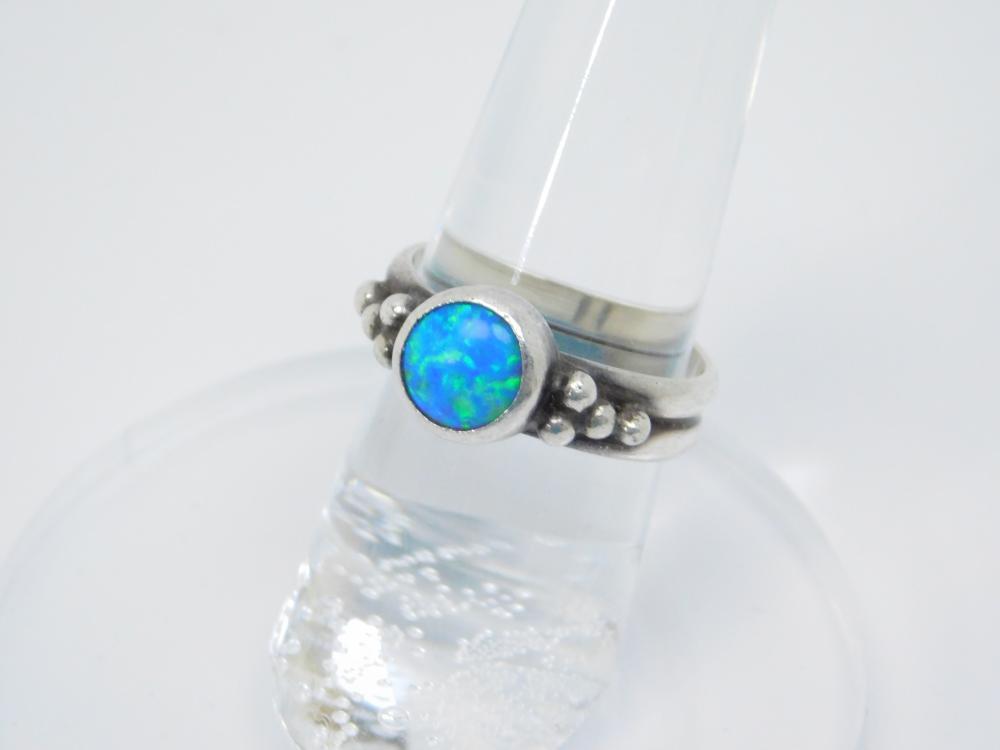 Sterling Silver Lab Opal Inlaid Fashion Ring 4.2G Sz 6