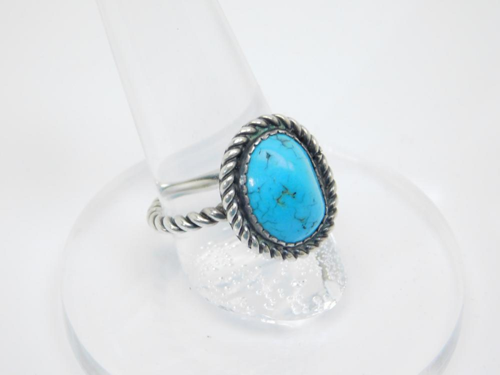 Vintage Native American Sterling Silver Turquoise Twisted Band Ring 4.7G Sz7.75