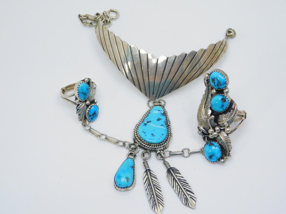 Vintage Native American Navajo Sterling Silver Turquoise Double Ring Slave Bracelet 38.9G Sz5&8