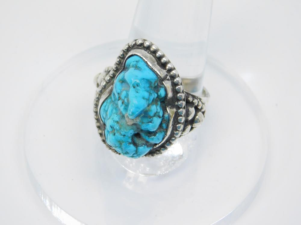 Vintage Native American Sterling Silver Turquoise Nugget Ring 13.9G Sz9