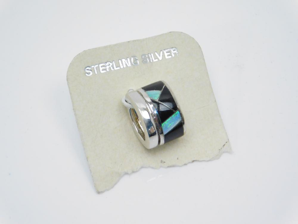 Southwestern Sterling Silver Inlaid Black Onyx & Opal Slide Pendant 5.6G