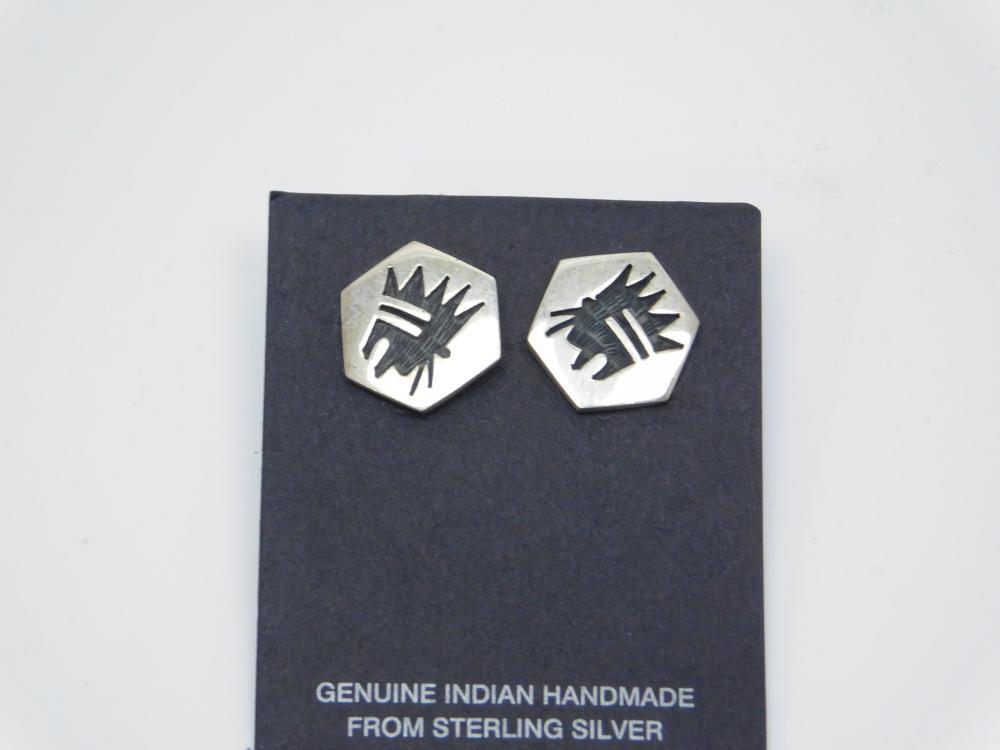 Vintage Native American Hopi Helena Lucas Sterling Tribal Bear Earrings 3.4G