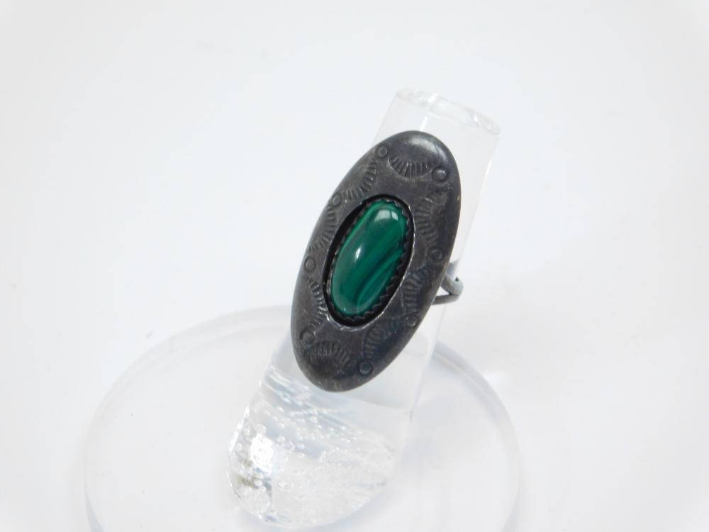 Vintage Native American Navajo Sterling Silver Shadowbox Elongated Malachite Ring 4G Sz5.25