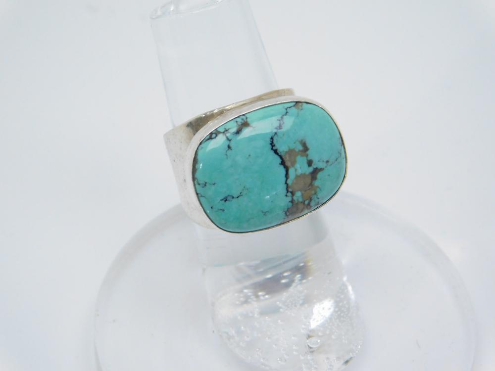 Southwestern Sterling Silver Desert Rose Trading Turquoise Ring 9G Sz5.5
