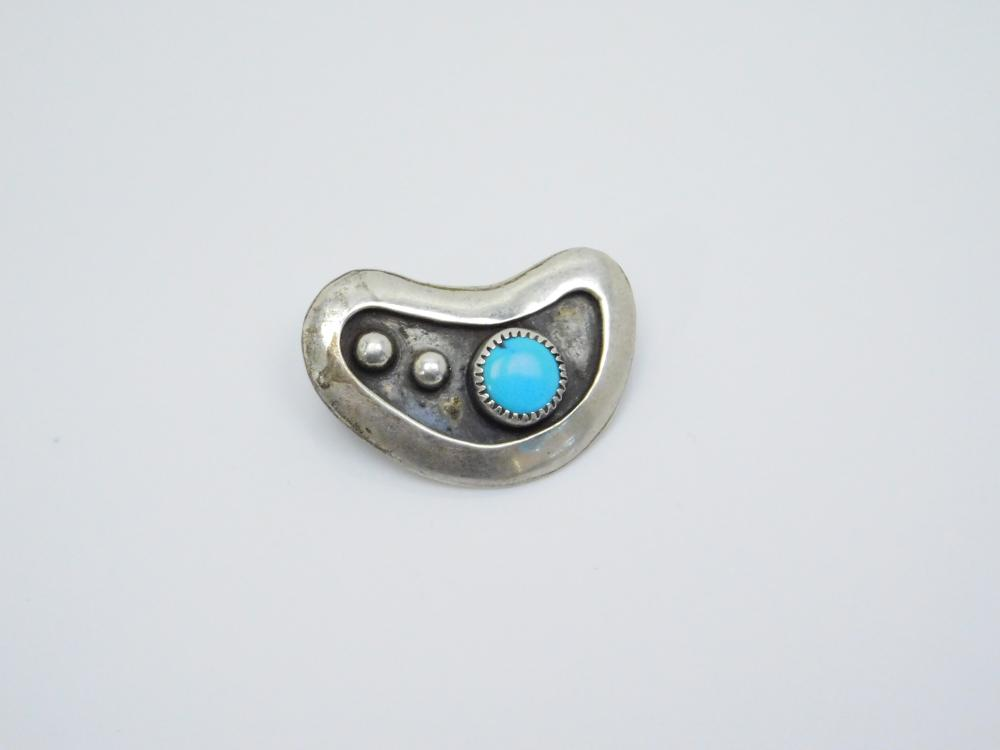 Vintage Native American Navajo Old Pawn Sterling Silver Turquoise Art Deco Brooch 4.8G