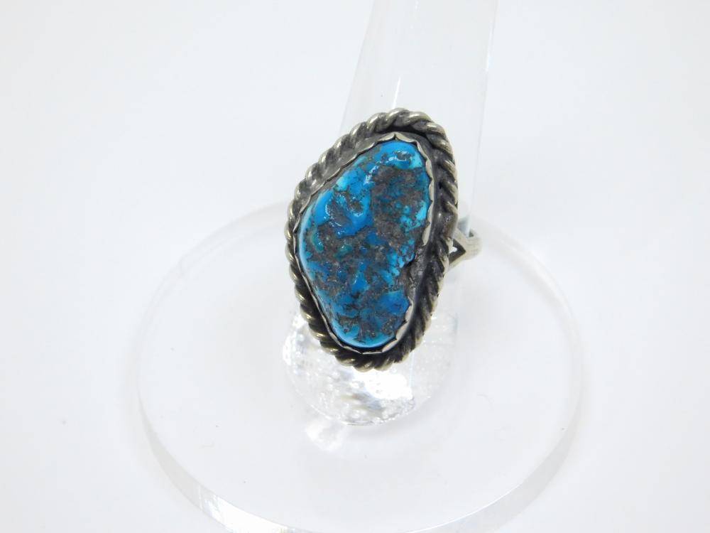 Vintage Native American Navajo Nickel Silver Turquoise Nugget Ring 8.8G Sz7