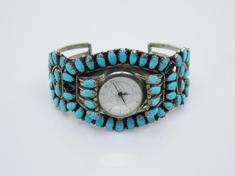 Vintage Native American Navajo Larry Moses Begay Sterling Cluster Watch Cuff Bracelet 50G
