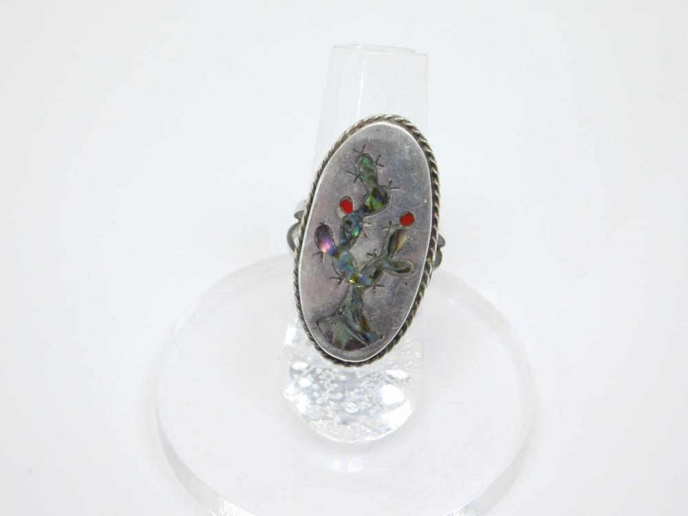 Vintage Taxco Mexico Msr Sterling Silver Inlaid Abalone Prickly Pear Cactus Ring 5.5G Sz7.5