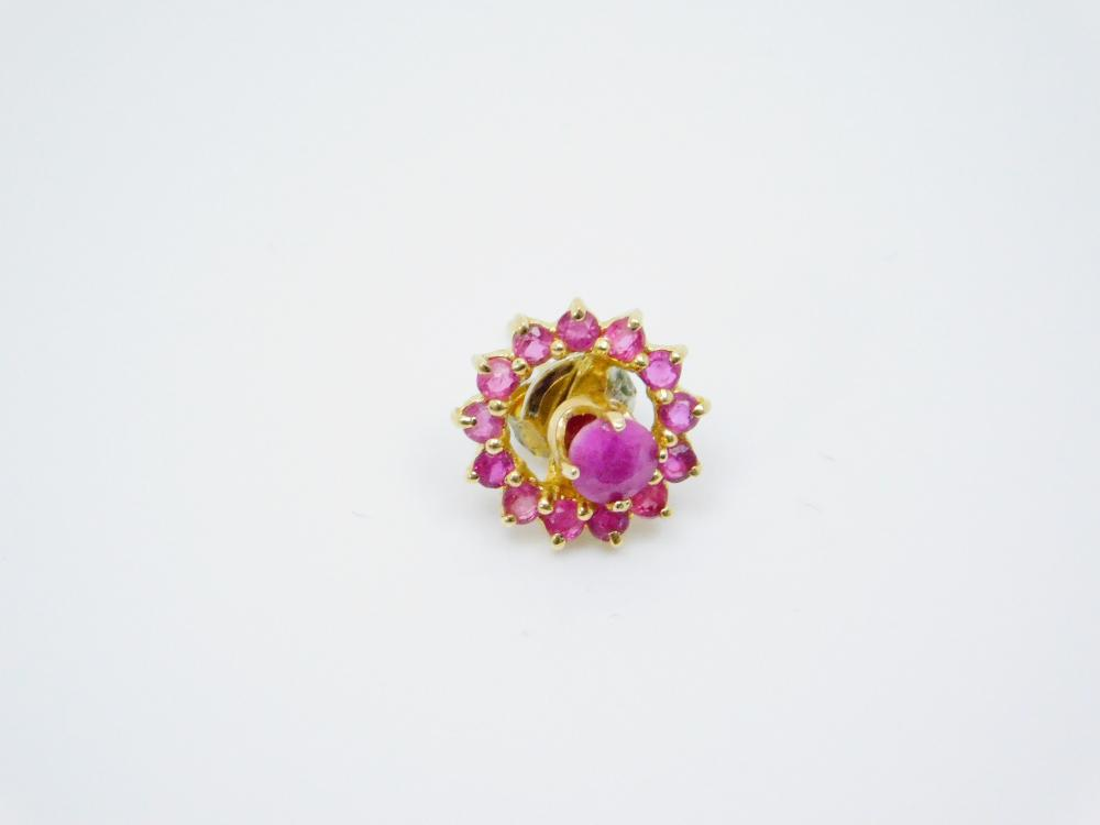Single 14K Gold Ruby Solitaire With Ruby Cluster Wreath Earring 0.98G