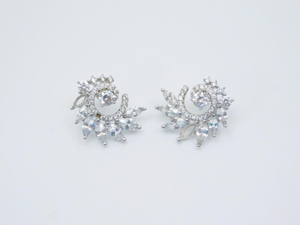 Sterling Silver Brilliant Cz Art Deco Earrings 4.9G