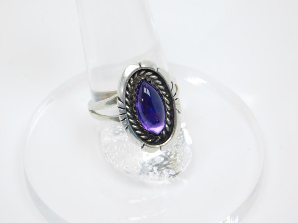 Vintage Native American Navajo Benson Boyd Sterling Amethyst Ring 4.7G Sz7.5