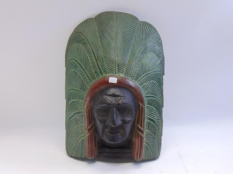 Hand Carved Wood Native American Chief Wall Hanger