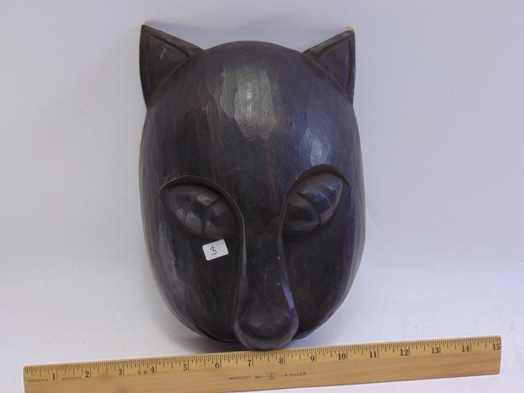 Lot 3: Balinese Hand Carved Wood Cat Mask