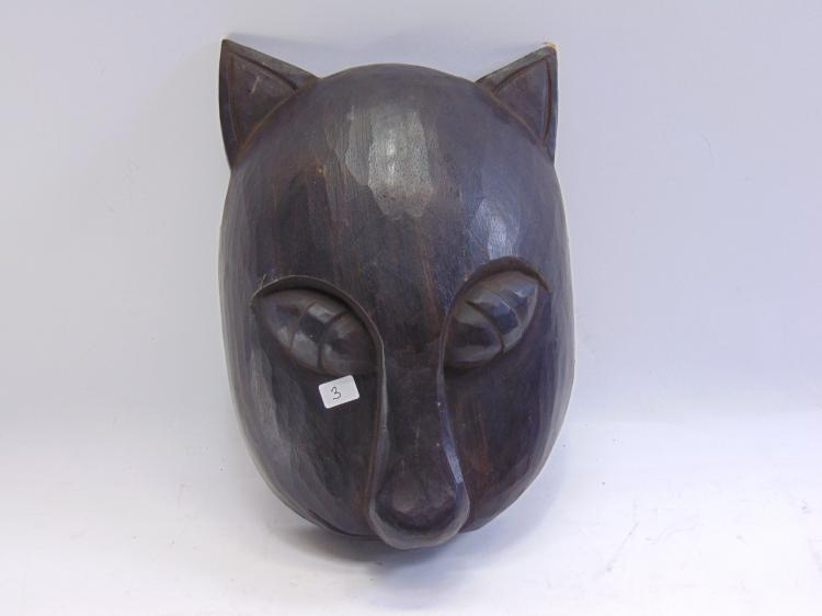 Balinese Hand Carved Wood Cat Mask