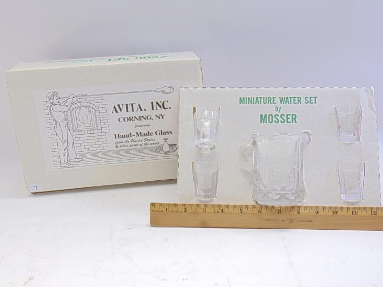 Lot 7: Mosser Glass Jennifer Set of 5 Miniature Pitcher and Glasses in the Box