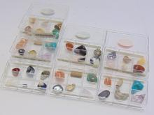 Lot 9: Lot of 42 Semi Precious Stones Minerals and Fossils in 6 GeoCentral Collection Cases