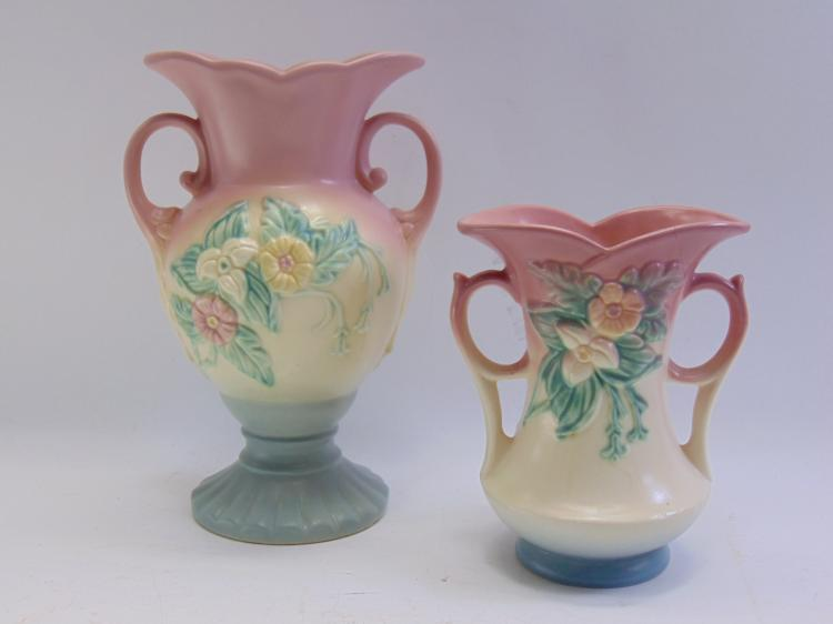 Lot of 2 Vintage Hull Pottery W6 & W14 Wildflower Vases