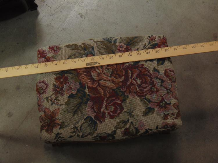 Lot 13: Lot of 2 Vintage Style Wood Framed Fabric Foot Stools