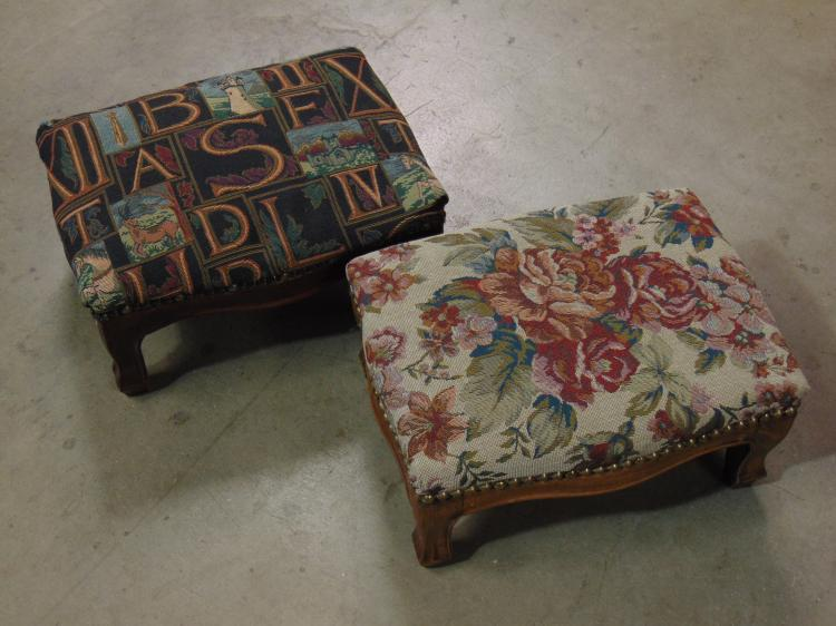 Lot of 2 Vintage Style Wood Framed Fabric Foot  Stools