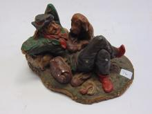 Lot 16: Vintage Chalkware Hobo and Dog Statue