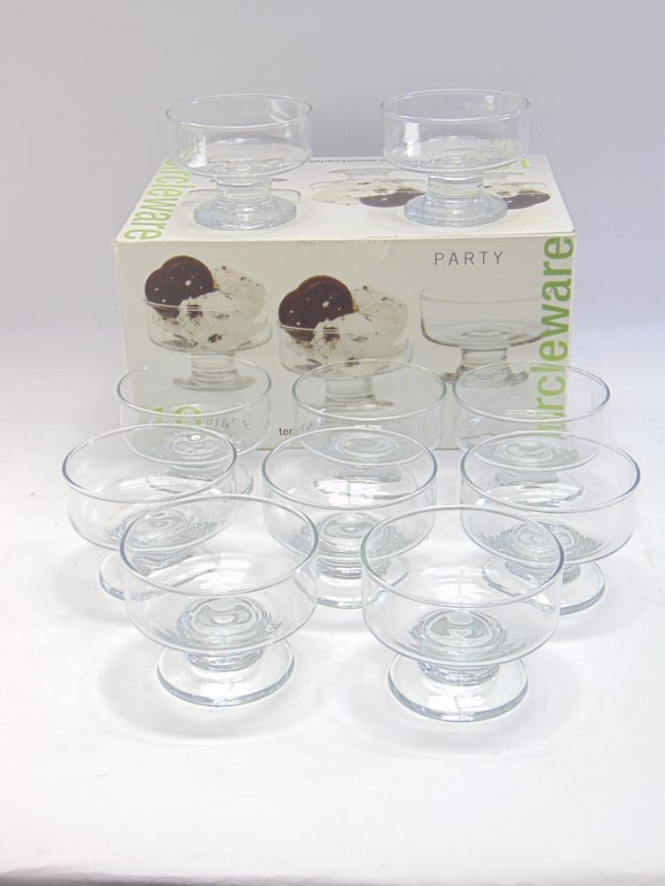 Lot of 10 Circle Ware 8 Oz Glass Dessert Parfait Servers in the Box